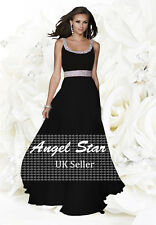 Long Chiffon Bridesmaid Formal Gown Ball Evening Prom Party Dress Size 8 -24 Black 24