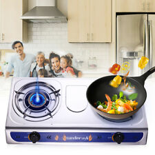 Portable 2 Double Burner Gas Stove Cooking Propane Outdoor Camping