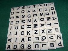 Upwords Plastic Letter Tiles Set of 64 black white Board Game 1983 W3