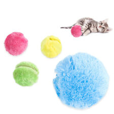 Pet Dog Cat Play Toys Electric Ball Automatic Roller W/ 4 Fleece Ball Covers Set