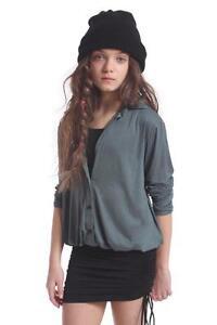 Submarine Girls Two-Tone Shirt Dress w/ Ruching Green Black 8 10 12 14 NWT $110