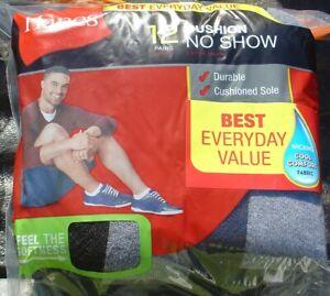 New Men's Hanes Cushion No Show Polyester Socks Lot 12 Pair Free Shipping