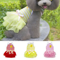 Pet Dog Bow Dress Summer Lace Stripes Vest Skirt Clothes Wedding Small Puppy Cat