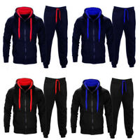 Men Gym Sports Suit Tracksuit Hooded Sweat Hoodie Long Pant Sweatpants Red Black