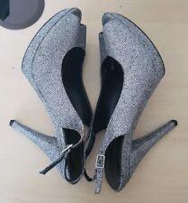 Nine West Silver Sparkle Peep Toe Platform Sandals US 7.5M UK Size 5.5 EU 38.5