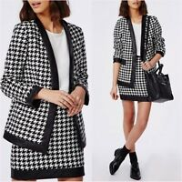 Missguided Co-Ord Black Checked Dogtooth Jacket Blazer & Skirt Size 4 US 0 Asos