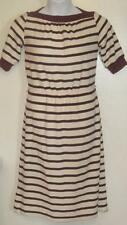 Vintage juniors sz 9 beige burgundy striped modest stretchy waist shirt dress a2