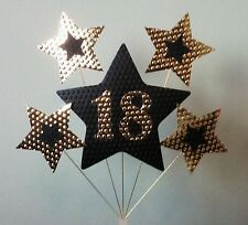 18th BIRTHDAY CAKE TOPPER. STARS, Gold and Black.