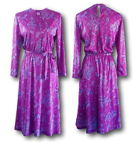 Vintage A-Line Dress 80s HABAND Purple Floral Long Sleeve Midi Belted Size 8P