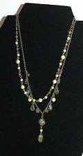 DOUBLE-CHAIN BRASS NECKLACE WITH PEARLS & FACETED GLASS DROPS