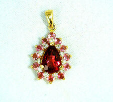 NEW Amazing Natural Pink Tourmaline and Fine Diamond  Pendant 14 K Yellow Gold