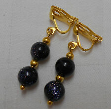 Unique handmade blue goldstone clip on earrings gold plated round beads lovely