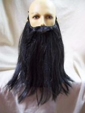 Black Gray Biker Beard Costume Facial Hair Rocker Merlin Dark Wizard Pirate Dude