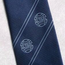 GLOBAL COMPANY LOGO TIE VINTAGE BLUE 1980s 1990s CORPORATE CLUB ASSOCIATION
