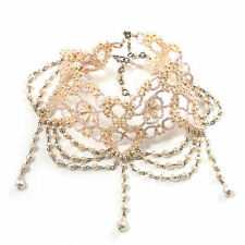 Cream  Bead Wide Victorian Burlesque Moulin Rouge Beaded Bridal Choker