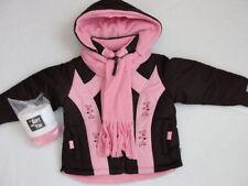 NWT Girls Winter Jacket Size 4 Brown Pink + Fleece Scarf Hat Rothschild Coat NEW
