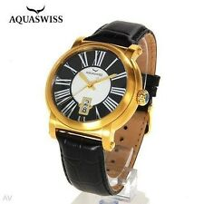 NWT Men's Aquaswiss Leather Gold Plated Watch $1025