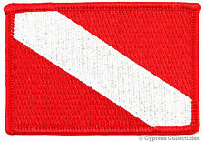 DIVER DOWN FLAG EMBROIDERED PATCH Scuba Diving Gift IRON-ON DIVER EMBLEM