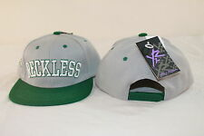 YOUNG & RECKLESS LT GRAY/GREEN ADJUSTABLE ONE SIZE FLAT BILL BALL CAP / HAT