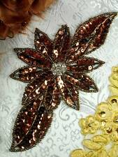 "JB25 Rhinestone Beaded Sequin Applique Bronze Floral  6.5"" 4000 ITEMS IN STOCK ~"