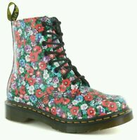 Dr Doc Martens Pascal Wild Poppy Floral Flowers 8 Eyelet Leather Boots Ladies 7
