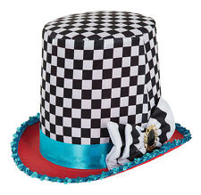Black & White Chequered Top Hat Mad Hatter Fancy Dress Costume Style