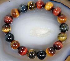 "Natural 10mm Colorful Tiger's Eye Stone Round Beads Bracelet Bangle 7.5"" PB143"