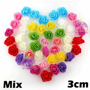 3cm FOAM ROSES pack of 50/100 Colorfast Artificial Flowers wedding decoration