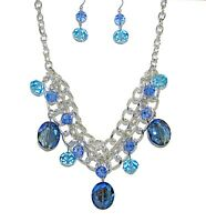 Blue Glass Beaded Statement Necklace and Earring Set - NEW