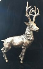 """GUCCI STAG DEER SILVER FIGURE STATUE ITALY 12"""" - RARE-  MATCHES GUCCI STIRRUP"""