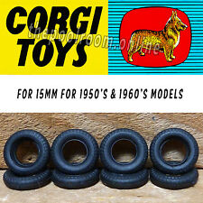 CORGI TOYS TYRES X 10 - 15mm Black Round Tread For 1950's/1960's models
