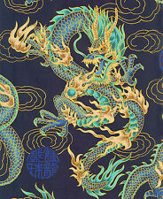NAVY BLUE FIRE-BREATHING DRAGONS: Japanese Asian Oriental Quilt Fabric - BTY