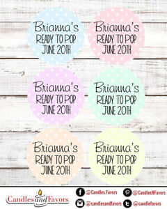 Ready To Pop® Round Personalized Baby Shower Sticker Labels | Pastel Polka Dots