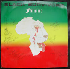 LP BLACK SURVIVORS FAMINE /SIGNED AUTOGRAPHED BY BAND