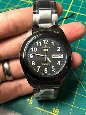 Seiko SNKM79 Black PVD Case SNK381 Dial Mod Field Watch Sapphire Crystal