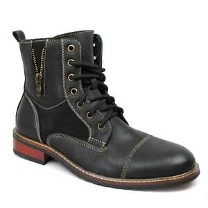 New Men's Black Ferro Aldo High Top Boots Cap Toe Suede / Leather Lace Up 808561