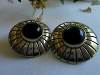 Vintage Round Sterling Silver Mexico Taxco Clip On Black Onyx Earrings  RE34H