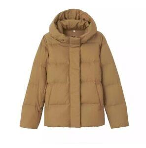 Muji Women Hooded Short Puffer Jacket Size S Mustard Yellow Water Resistant