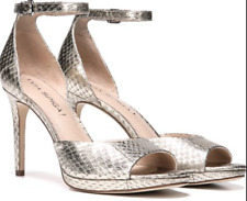$225 size 8 Via Spiga Salina Platinum Leather Heel Ankle Strap Womens Sandals