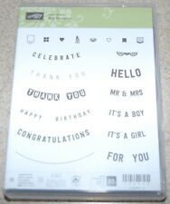 Stampin Up! ANY OCCASION word stamps (set of 20 stamps: Happy Birthday +) ~NIP