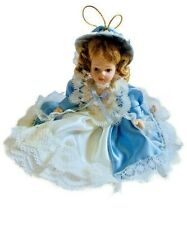Vintage Jointed Bisque Doll Decoration Beautiful Fashion Blue Dress Hanging