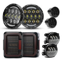 "For Jeep JK JKU 2007+ Smoke Tail Lights+7"" Halo LED Headlight+Fog Turn Lamp Kits"