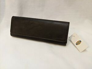 Fossil Eyeglass Glasses Case Brown Triangular Shape with Magnetic Closure ~ NWT