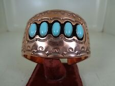 Shadow Box Copper Bracelet With Nice Turquoise Stones By Running Bear RB