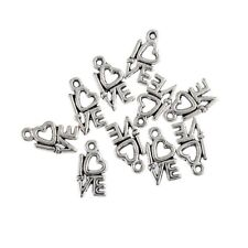 LOVE Word Alloy Beads Tibetan Silver Charms Pendant DIY Bracelet 14*7mm 10pcs