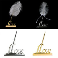 Engagement White Feather Signing Pen with Metal Love Holder Wedding Pen Set