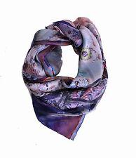 Designer Silk Scarf Large Square ✦ 100% Silk Satin ✦ Bright Walrus