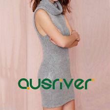 Cotton Blend Turtleneck Short Sleeve Dresses for Women