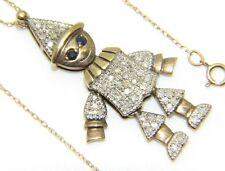 Womens Ladies 9ct 9carat Yellow Gold 17 1/2 Inch Chain & Diamond Clown Pendant