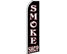 Smoke Shop Black / White / Red Swooper Super Feather Advertising Flag